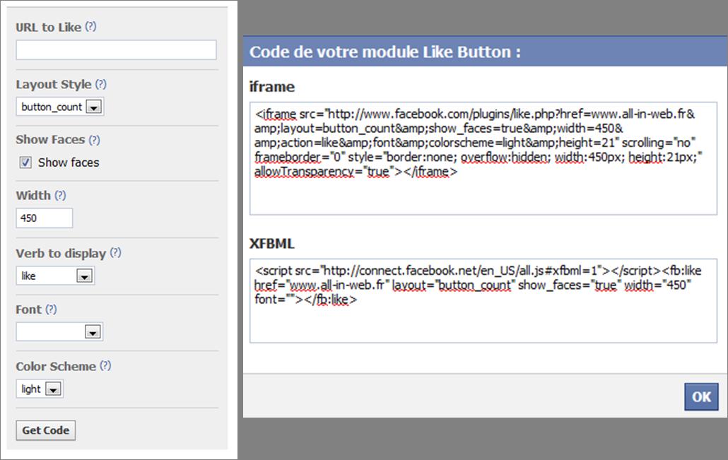 bouton j'aime facebook